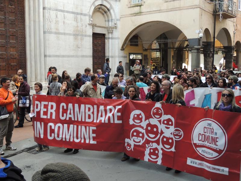 """Pisa, 16 novembre 2013: 'una città in comune' ha contribuito a gonfiare il """"fiume in piena"""""""